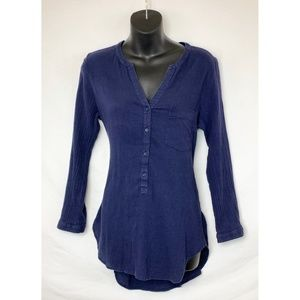 OLD NAVY  Half Button Up LS Navy Blue Tunic Top